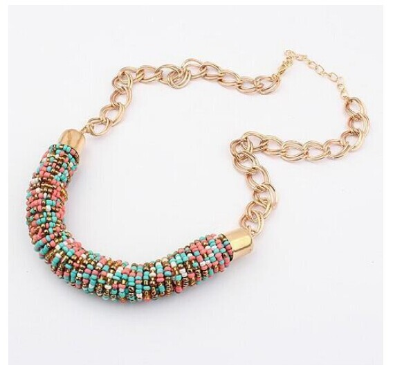 2015 Hot Sales Bohemia Link Chain Resin Beads Pendant Necklace Vintage Jewelry Collar Choker Statement Necklace For Women(China (Mainland))