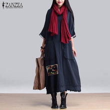 Buy ZANZEA Women Vintage Elegant Dress 2017 Spring Splice O Neck 3/4 Sleeve Pockets Casual Loose Solid Maxi Long Oversized Vestidos for $14.73 in AliExpress store