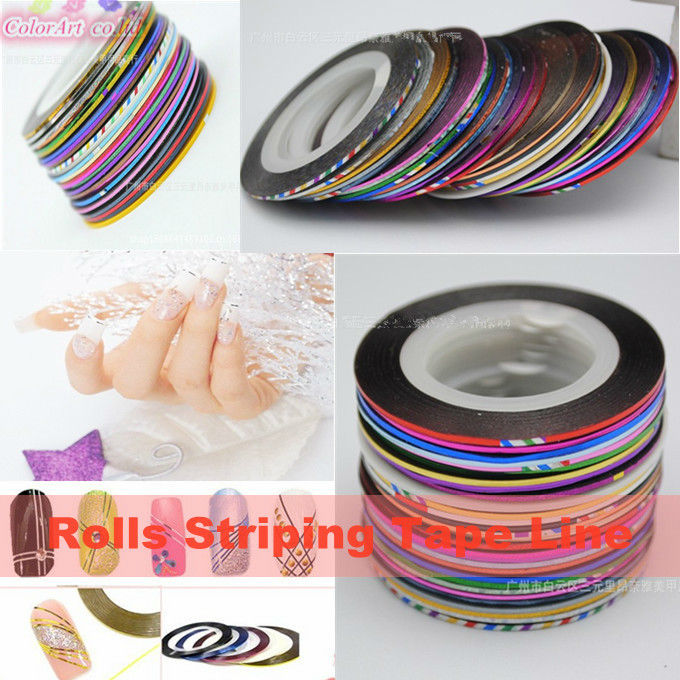 30 Multicolor Mixed Colors Rolls Striping Tape Line Nail Art Decoration Sticker Tips Manicure Tools - ColorArt Co. LTD Store store