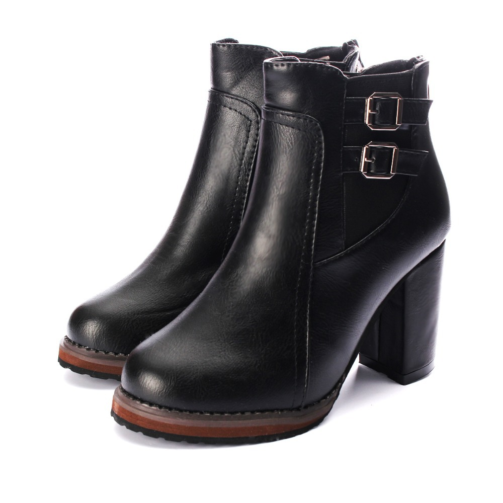 Hot Sale Women Thick High Heel Double Buckle Elastic Bootie Zipper Martins Ankle Boots Classic Design Ladies Shoes Free Shipping(China (Mainland))