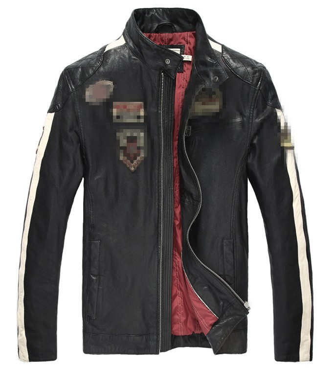 Free shipping ! ! ! Slim Genuine Leather men's casual fashion clothing motorcycle racing suits down cotton jacket , (228) L-4XL(China (Mainland))