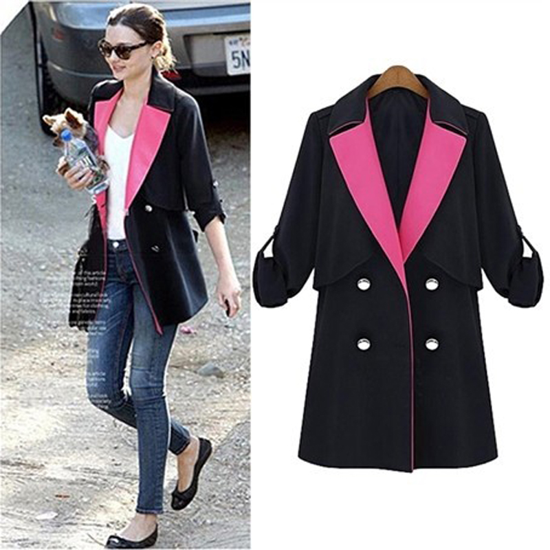 Spring fashion plus size clothing trench outerwear mm long-sleeve color block decoration thin suit coat femaleОдежда и ак�е��уары<br><br><br>Aliexpress