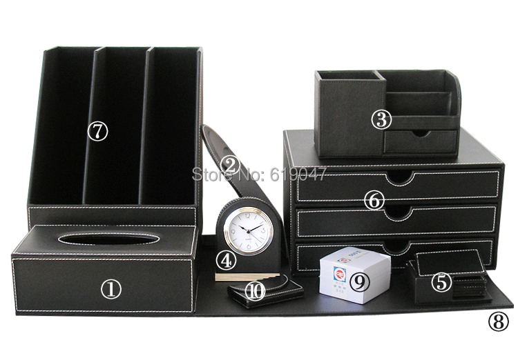 Kingfom Luxury 10 pcs High Quality Business Office Supplies Stationery Desk Sets Leather Multifunction Storage Organizer Box(China (Mainland))