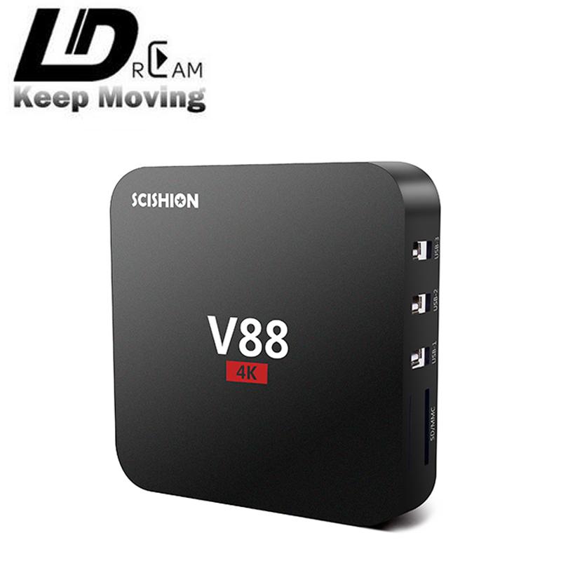 High quality V88 TV Box Rockchip 3229 Quad-Core 1G+8G Android 5.1 OTT KODI 4K 10-bit 60fps wifi 3D Mini Media Player(China (Mainland))