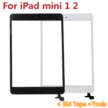 For Ipad Mini Touch Digitizer Screen + IC Flex Chip For ipad mini digitizer with home button White & Black free shipping(China (Mainland))