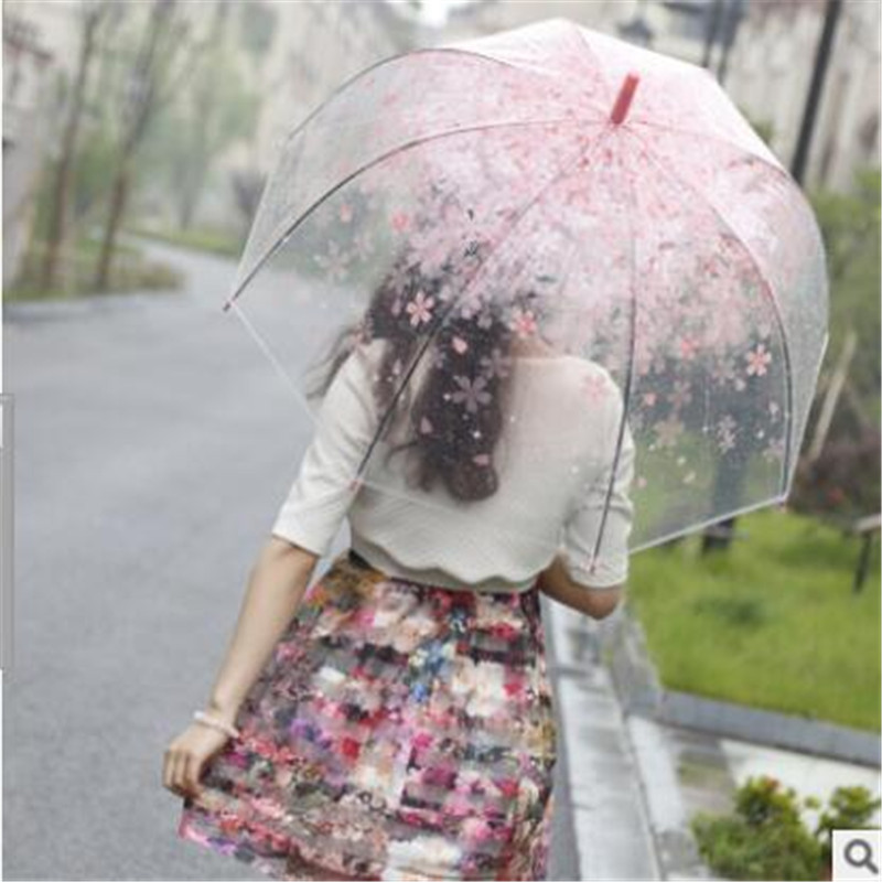 Free shipping 2016 new long-handled umbrella cherry green transparent clear umbrella over the United States literary fresh(China (Mainland))