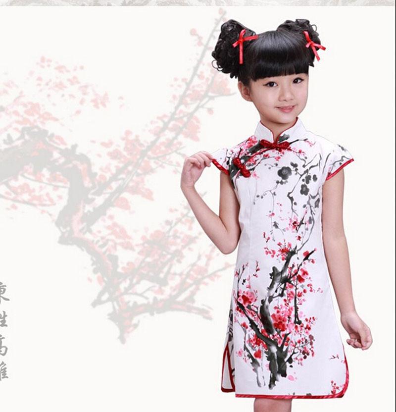 New 2015 Girls Cheongsam Cotton-padded Jacket Chinese Style Straight Elegant Dresses Traditional Chinese Garments(China (Mainland))