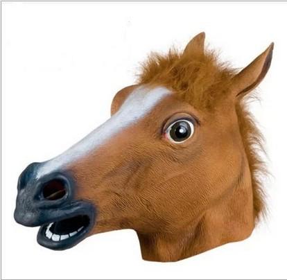 Creepy Costume Party Full Head Rubber Unicorn Horse Mask Mythology Fancy Prop(China (Mainland))