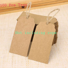 New 100Pcs Kraft Paper Tags Brown Scallop Head Label Luggage Wedding Note DIY(China (Mainland))