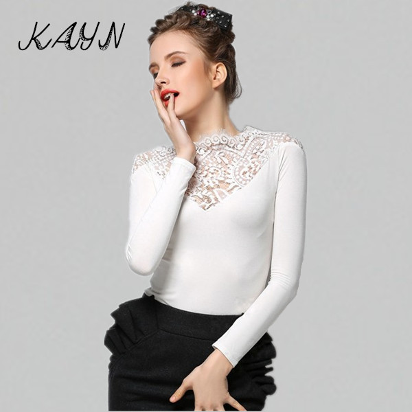 Fashion T Shirt Women 2015 Spring Summer Patchwork Lace Slim Long Sleeve Tshirt Tops Black White - KAYN Boutique Clothing store