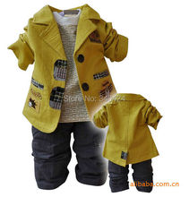 Free shipping 2015 New autumn baby boy clothing sets children fashion clothes for kids 3 piece