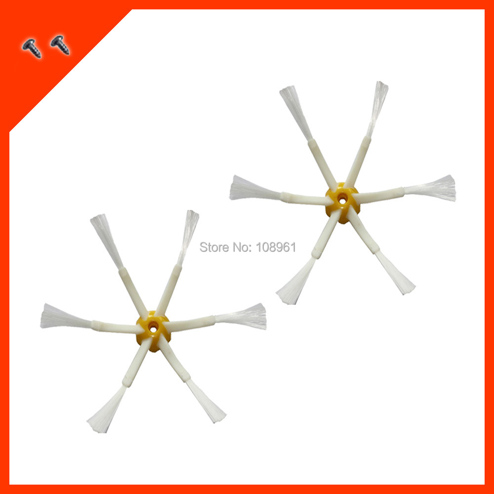 2 pcs/lot 6-armed Side Brushes + Screw for iRobot Roomba 500 600 700 Series 530 550 560 580 620 630 650 760 770 780 790 etc(China (Mainland))
