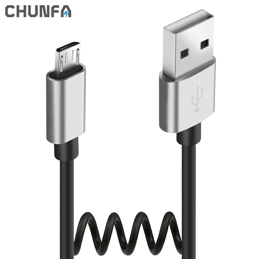 Micro USB Cable Mobile Phone Fast Charge Cables for Huawei Retractable Data Sync Wire for Xiaomi Android Car USB Spring Cable(China (Mainland))