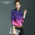 European Fashion Design Women Blouses Purple Black Plus Size Elegant Temperament Printing Leisure Women Shirt Long