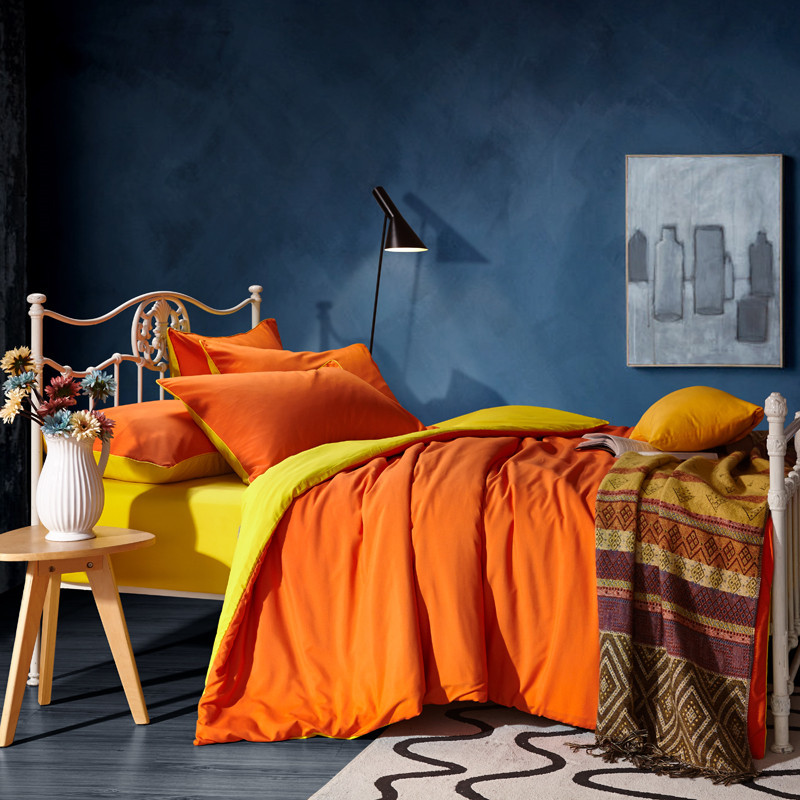 Luxury bedding sets purple solid color twin/queen/double king size  duvet cover set quilt cover linen pillowcase hometextile
