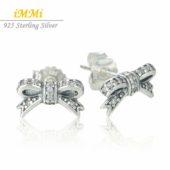 New Arrival CZ Pave Bowknot Stud 2015 Earrings 925 Sterling Silver Bow Earrings For Women Fit DIY Brand P Original Jewelry ER115