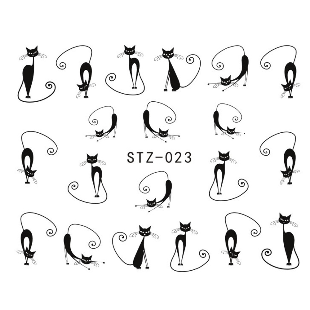 1pcs Nail Art Water Transfer Sticker Decals Hot Black Lazy Cat DIY for Nails Accessory Nail Art Decorations Beauty Tips STZ023