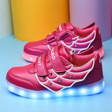Wholesale colorful LED lighted luminous shoes Spring children shoes USB charging Flash wings fashion sneakers casual sport shoes(China (Mainland))