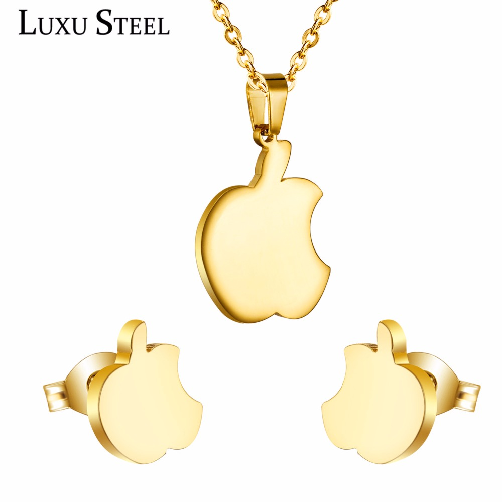 One Bite Apple Necklace Pendant And Earrings Sets Made Of Anti Allergic Stainless Steel,Women Accessories For Gift,Without Chain(China (Mainland))