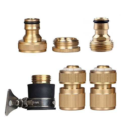 Set of 6 Brass Universal Garden Lawn Water Hose Pipe Fitting Set Connector Tap Adaptor(China (Mainland))