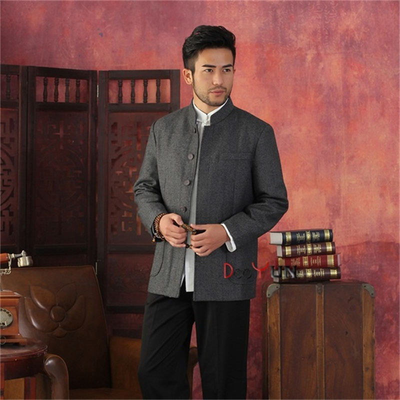 Spring Autumn Black Gray Chinese Traditional Men's Jacket Striped Wool Coat Middle-aged Chinese tunic suit S M L XL XXL XXXL