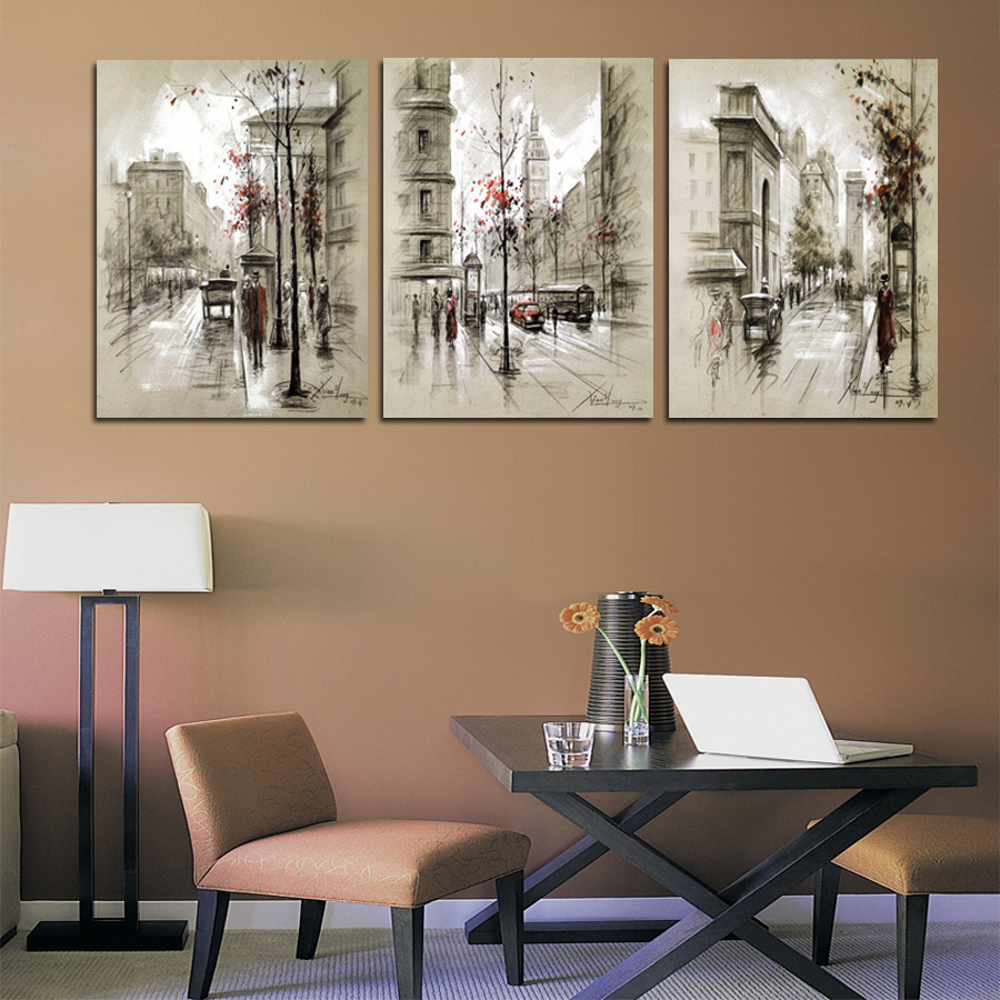 Home Decor Canvas Painting Abstract City Street Landscape Decorative Paintings Modern Wall Pictures 3 Panel Wall Art No Frame(China (Mainland))