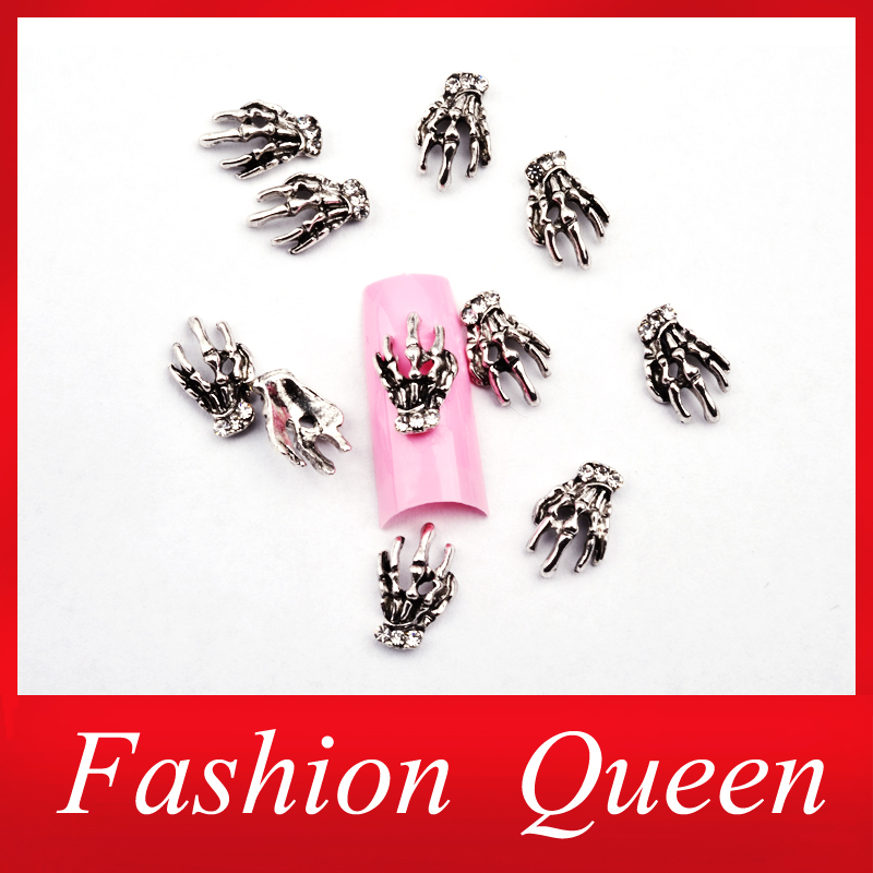 New Arrive Skeleton Hand Clear Rhinestone 3D Alloy Nail Art Decorations,10pcs Antique Silver Creative Charm Design Nail Tools(China (Mainland))