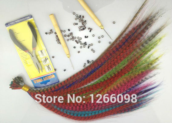 "100pcs top quality 16"" long straight hair extension Grizzly Feather Hairpiece 12 colors available with free beads and hook"