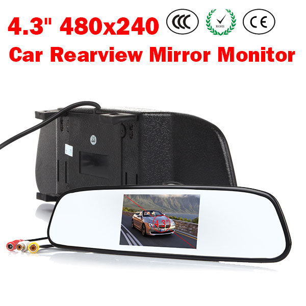 "High resolution 4.3"" Color TFT LCD Car Rearview Mirror Monitor 4.3 inch 16:9 screen DC 12V car Monitor for DVD Camera VCR(China (Mainland))"