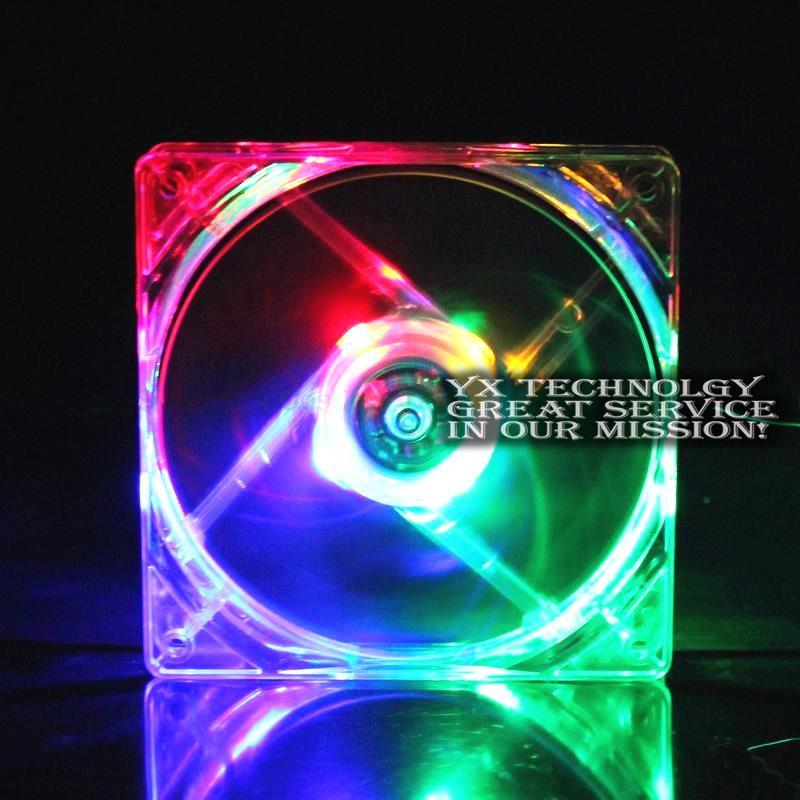 50pcs/set DC cooling fan Colorful Led Light Fan PC DC 12V 4Pin 12025 12cm(China (Mainland))