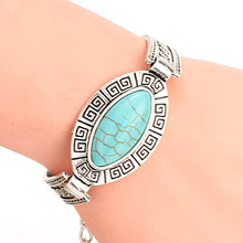 2015 Hot Sale Top Quality Turquoise Bracelet New Fashion Vintage Silver Plated Bracelets for Women Best Birthday Gift(China (Mainland))