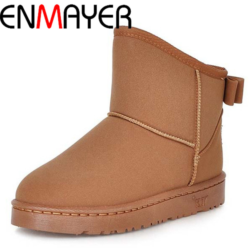 ENMAYER Big Size 39 High Quality Boots Fur Ankle  Round Toe Slip On Boots For Women 3 Colors  New Fashion Winter Snow Boots <br><br>Aliexpress