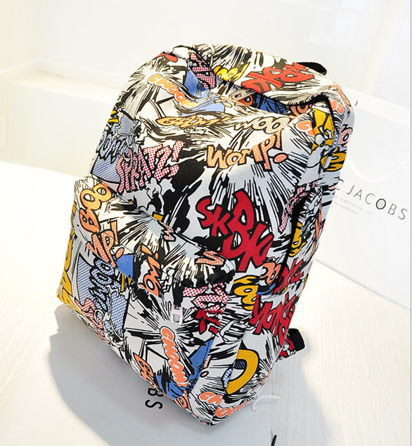Stock!Graffiti Backpack Schoolbag School Bag Teenagers Lady's Backpacks Bags Anime Backpacks And School Bags College Bags Girls(China (Mainland))
