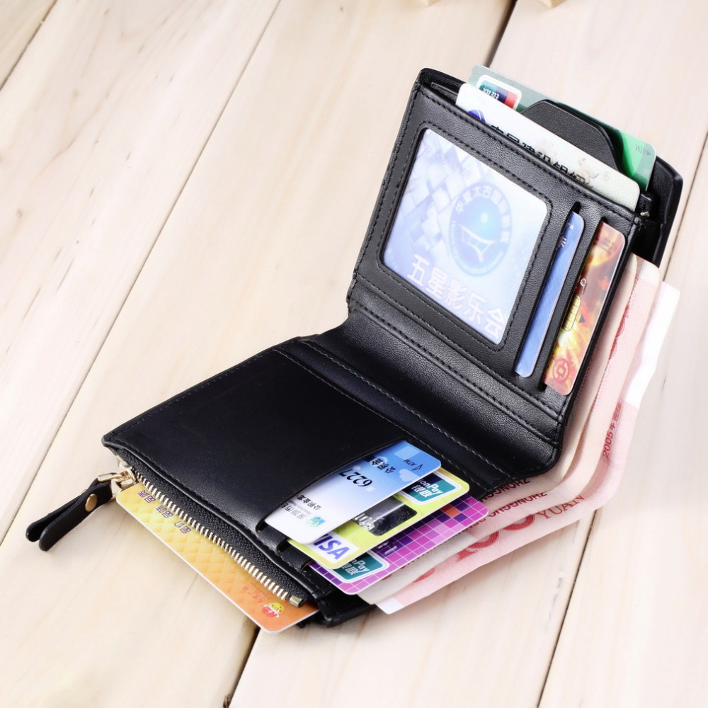 2015 Men s Faux Leather ID credit Card holder Bifold Coin Purse Wallet Pockets Hot Worldwide