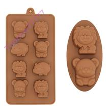 8-Hole Silicone Bear Lion Hippo Candy Chocolate Gummy Mold Cake Mould for Kid Boys Lovely Xmas F2537(China (Mainland))