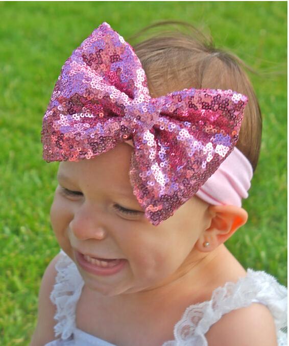 Baby Sequin Messy Bow Head wrap, Cotton Headwraps, Big Bow Baby headbands, Newborn headband, Baby Hair Bows CNHD-1505064(China (Mainland))
