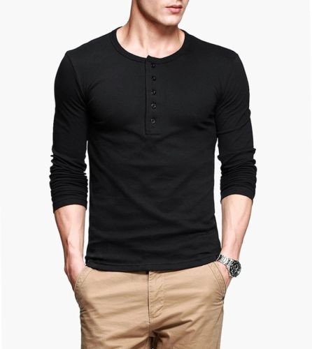 Details about Mens T-Shirt Casual Henley Long Sleeve Slim Flexibility Tee Black Gray M To XXL Wholesales or RetailОдежда и ак�е��уары<br><br><br>Aliexpress