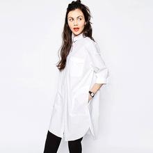 2016 новых прибыть весной мода простой дизайн длинные белые рубашки для женщин свободный стиль типа парня удобные хлопковые ткани