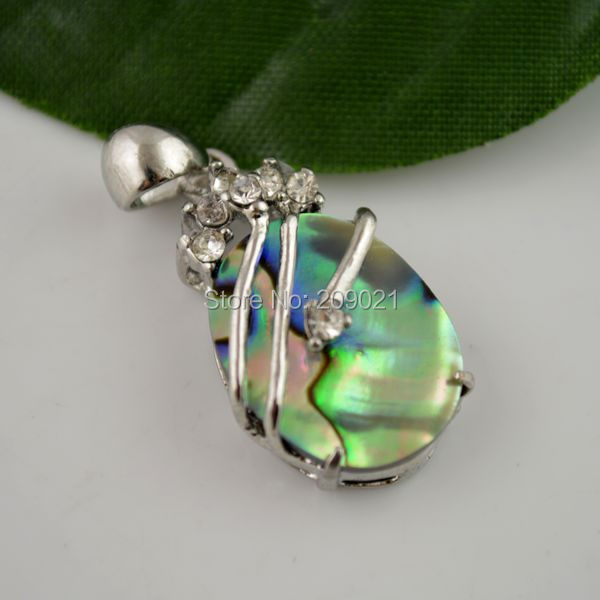 10pcs Silver Tone Natural Ocean Abalone Shell Delicate Crystal Pendant Jewelry Gift(China (Mainland))
