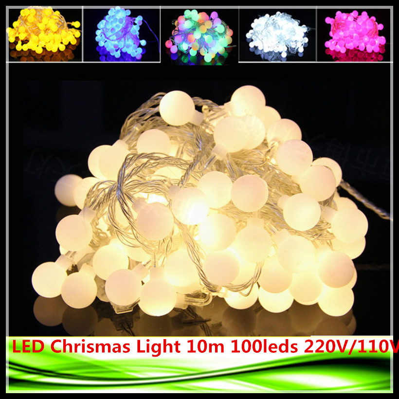 1X LED Light 10m 100 leds AC 220V110VOutdoor lighting LED Ball string lamp Christmas Light fairy wedding garden pendant bulb(China (Mainland))