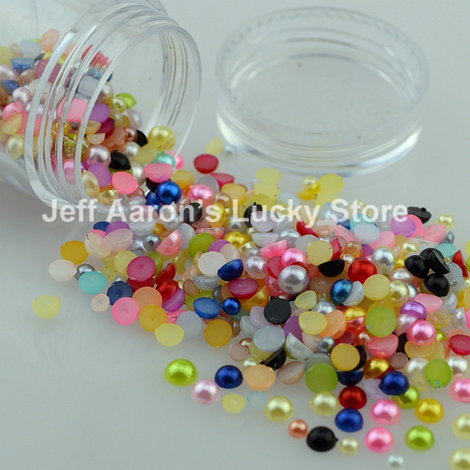 3mm 4mm colorized 3d nail pearl glitter mix size rhinestones for nail art tips decoration tools nail jewelry(China (Mainland))