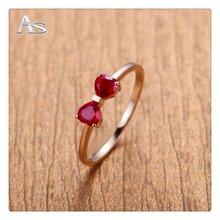 Love Engraved Lovely Bow Design Ruby Rings For Girls Rose Gold Plated Good Quality Genuine 925