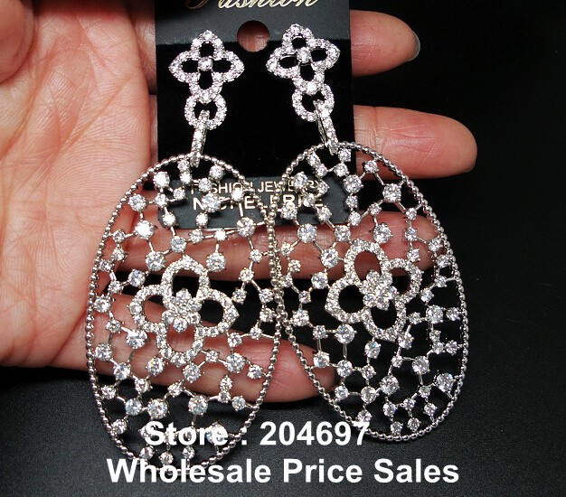 New Fashion Vintage Style Hollow Four Leaf Clover Flower Oval Shape AAA Cubic Zirconia Diamond Bridal Drop Earring(China (Mainland))