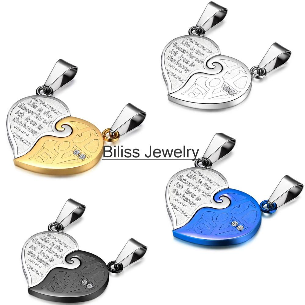 Biliss New Stainless Steel His and Hers Matching Heart Necklace Couple Lover Necklaces Set Valentine's Gift Colours Selection(China (Mainland))
