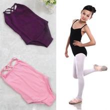 Kinder mädchen ärmelloses ballett Gymnastik body trikot baumwolle tanz anzug 6-12y yard(Hong Kong)