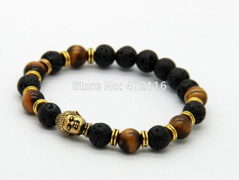 2014 New Lava Stone beads Buddha Men Bracelets Gold Buddha Black Yoga bracelet Unisex