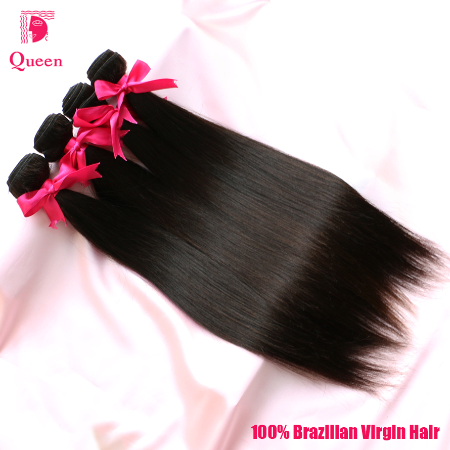 Queen Hair Products Brazilian Virgin Hair Extension Straight 100% Unprocessed Virgin Human Hair Weave Bundles 4Pcs Lot 100g/pc(China (Mainland))