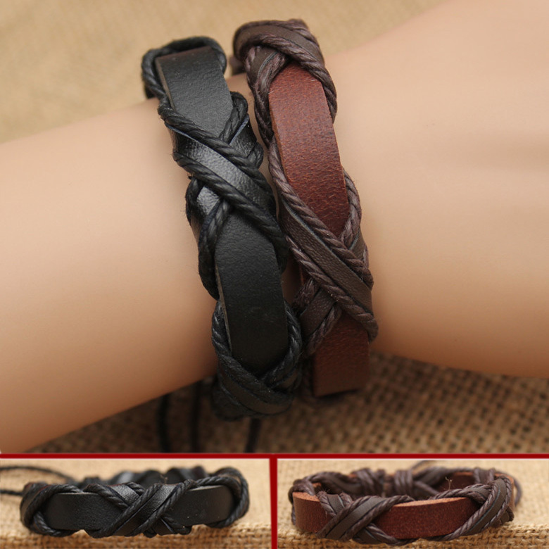 Wholesale Fashion Summer Jewelry Leather Bracelet Men Rope Chain Mens Bracelets 2015 Men Braided Leather Bracelet