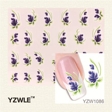 YZWLE 1Pcs Nail Art Water Sticker Nails Beauty Wraps Foil Polish Decals Temporary Tattoos Watermark(China (Mainland))