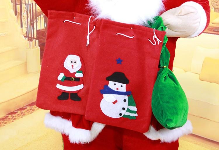 12 pçs/lote atacado Sacos Santa Decorações para o Ano Novo Presente de Natal Sacos de Doces Presentes Enfeites de Natal Santa Saco Meia